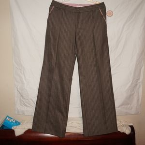 NWT Rebecca Taylor Brown Striped Trouser Pants 10